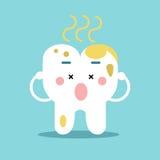 Χαριτωμένος χαρακτήρας δοντιών κινούμενων σχεδίων με τα υπόλοιπα των τροφίμων, οδοντική διανυσματική απεικόνιση για τα παιδιά Στοκ φωτογραφία με δικαίωμα ελεύθερης χρήσης