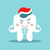 Χαριτωμένος χαρακτήρας δοντιών κινούμενων σχεδίων μυϊκός με την οδοντόπαστα, οδοντική διανυσματική απεικόνιση για τα παιδιά Στοκ φωτογραφία με δικαίωμα ελεύθερης χρήσης