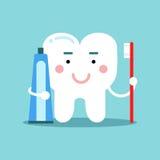 Χαριτωμένος χαρακτήρας δοντιών κινούμενων σχεδίων που βουρτσίζει με την οδοντόπαστα, οδοντική διανυσματική απεικόνιση για τα παιδ Στοκ Φωτογραφίες
