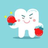 Χαριτωμένος χαρακτήρας δοντιών κινούμενων σχεδίων στα κόκκινα πεδίο γάντια, οδοντική διανυσματική απεικόνιση για τα παιδιά Στοκ Εικόνες