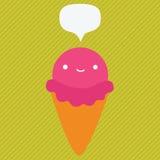 Χαριτωμένος χαρακτήρας παγωτού κινούμενων σχεδίων Στοκ Εικόνες