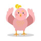 Χαριτωμένος χαρακτήρας πουλιών κινούμενων σχεδίων ρόδινος στη γεωμετρική διανυσματική απεικόνιση μορφής Στοκ Φωτογραφία