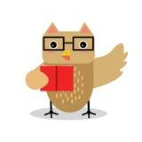 Χαριτωμένος χαρακτήρας πουλιών κουκουβαγιών κινούμενων σχεδίων στη γεωμετρική μορφή που φορά τα γυαλιά και που κρατά την κόκκινη  Στοκ Φωτογραφίες