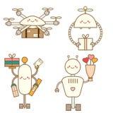 Χαριτωμένος χαρακτήρας ρομπότ kawaii - σύνολο Κηφήνες παράδοσης Το Androids παραδίδει τα μετα κιβώτια και τα λουλούδια Διανυσματι Στοκ Φωτογραφίες