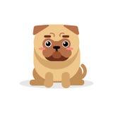 Χαριτωμένος χαρακτήρας σκυλιών μαλαγμένου πηλού κινούμενων σχεδίων που κάθεται τη διανυσματική απεικόνιση Στοκ Εικόνες