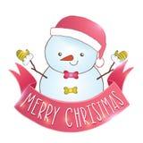 Χαριτωμένος χιονάνθρωπος κινούμενων σχεδίων με την κορδέλλα Χριστουγέννων Στοκ Φωτογραφία