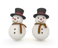 Χαριτωμένος χιονάνθρωπος με το μαντίλι και το μαγικό καπέλο Στοκ Εικόνα