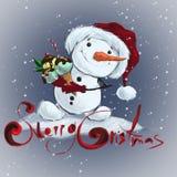 Χαριτωμένος χιονάνθρωπος με το παγωτό στοκ εικόνα