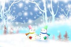 Χαριτωμένος χιονάνθρωπος που αντιμετωπίζει ο ένας τον άλλον στο χειμερινό τοπίο - γραφική σύσταση των τεχνικών ζωγραφικής, waterc διανυσματική απεικόνιση