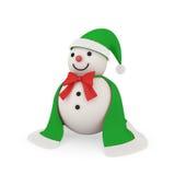 Χαριτωμένος χιονάνθρωπος στο ύφος Άγιου Βασίλη Στοκ Εικόνα