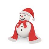 Χαριτωμένος χιονάνθρωπος στο ύφος Άγιου Βασίλη Στοκ φωτογραφίες με δικαίωμα ελεύθερης χρήσης
