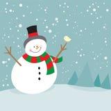 Χαριτωμένος χιονάνθρωπος Χριστουγέννων και λίγο πουλί Στοκ Εικόνες