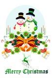 Χαριτωμένος χιονάνθρωπος Χριστουγέννων στη διακόσμηση κορδελλών - διανυσματικό eps10 απεικόνιση αποθεμάτων