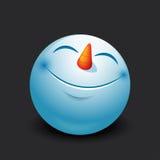 Χαριτωμένος χιονάνθρωπος emoticon, emoji, smiley - διανυσματική απεικόνιση Στοκ Εικόνες