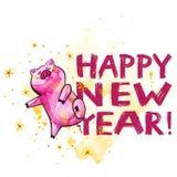 Χαριτωμένος χοίρος με τη δημιουργική εγγραφή έτους του 2019 νέα Σύμβολο του έτους στο κινεζικό ημερολόγιο απομονωμένος watercolor ελεύθερη απεικόνιση δικαιώματος