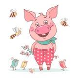Χαριτωμένος χοίρος χαμόγελου που ντύνεται στα ρόδινα εσώρουχα στα μπιζέλια ελεύθερη απεικόνιση δικαιώματος