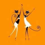 Χαριτωμένος χορός γατών απεικόνιση αποθεμάτων