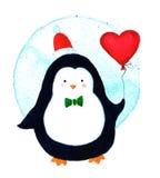 Χαριτωμένος Χριστουγέννων εορτασμού κινούμενων σχεδίων penguin με την καρδιά μπαλονιών Στοκ Εικόνες