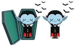 Χαριτωμένος ύπνος Dracula βαμπίρ κινούμενων σχεδίων μικροσκοπικός στο φέρετρο ελεύθερη απεικόνιση δικαιώματος
