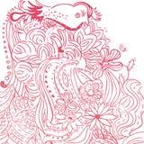 χαριτωμένος floral handdrawn καρτών Στοκ φωτογραφία με δικαίωμα ελεύθερης χρήσης