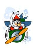 Χαριτωμένος santa-πιλότος E Χειμερινό έμβλημα ελεύθερη απεικόνιση δικαιώματος