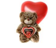 Χαριτωμένος teddy αντέχει με την κόκκινη καρδιά Στοκ Φωτογραφία