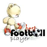 Χαριτωμένος teddy αντέχει συρμένη απεικόνιση watercolor ποδοσφαιριστών τη χέρι Καλύτερος ποδοσφαιριστής ελεύθερη απεικόνιση δικαιώματος