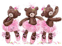 Χαριτωμένος teddy αντέχει την απεικόνιση watercolor ελεύθερη απεικόνιση δικαιώματος