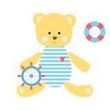 Χαριτωμένος teddy αντέχει το ναυτικό Στοκ Εικόνες