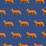 Χαριτωμένο άνευ ραφής απλό διανυσματικό σχέδιο αλεπούδων Στοκ Φωτογραφίες