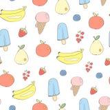 Χαριτωμένο άνευ ραφής διανυσματικό υπόβαθρο φρούτων και γλυκών Στοκ φωτογραφία με δικαίωμα ελεύθερης χρήσης
