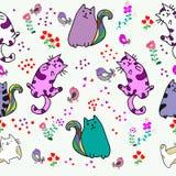Χαριτωμένο άνευ ραφής σχέδιο γατών με το λουλούδι στη ζωηρόχρωμη διανυσματική απεικόνιση υποβάθρου doodle ύφος κινούμενων σχεδίων στοκ φωτογραφία με δικαίωμα ελεύθερης χρήσης