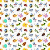 Χαριτωμένο άνευ ραφής σχέδιο εντόμων κινούμενων σχεδίων για τα παιδιά, κλωστοϋφαντουργικό προϊόν, κάρτες Στοκ φωτογραφία με δικαίωμα ελεύθερης χρήσης