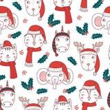 Χαριτωμένο άνευ ραφής σχέδιο ζώων Χριστουγέννων διανυσματική απεικόνιση