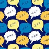 Χαριτωμένο άνευ ραφής σχέδιο με συρμένη τη χέρι λεκτική φυσαλίδα ύπνου κινούμενων σχεδίων zzz ελεύθερη απεικόνιση δικαιώματος