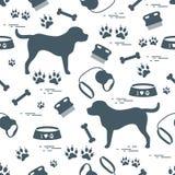 Χαριτωμένο άνευ ραφής σχέδιο με τη σκιαγραφία σκυλιών, κύπελλο, ίχνη, κόκκαλο, β διανυσματική απεικόνιση