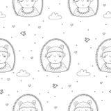 Χαριτωμένο άνευ ραφής σχέδιο με το αστείο μωρό επίσης corel σύρετε το διάνυσμα απεικόνισης Στοκ φωτογραφία με δικαίωμα ελεύθερης χρήσης