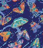 Χαριτωμένο άνευ ραφής σχέδιο πεταλούδων Ζωηρόχρωμο διανυσματικό σχέδιο επιφάνειας Στοκ φωτογραφία με δικαίωμα ελεύθερης χρήσης