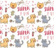 Χαριτωμένο άνευ ραφής σχέδιο σκυλιών, γατών και ποντικιών ελεύθερη απεικόνιση δικαιώματος