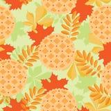 Χαριτωμένο άνευ ραφής σχέδιο φθινοπώρου Πίτα και φύλλα κολοκύθας στο επίπεδο ύφος Τοπ όψη Στοκ φωτογραφία με δικαίωμα ελεύθερης χρήσης