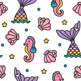 Χαριτωμένο άνευ ραφής σχέδιο χρώματος ουράνιων τόξων γοργόνων και seahorse κρητιδογραφιών Ελεύθερη απεικόνιση δικαιώματος