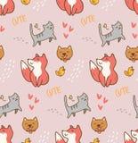 Χαριτωμένο άνευ ραφής σχέδιο kawaii ζώων ελεύθερη απεικόνιση δικαιώματος