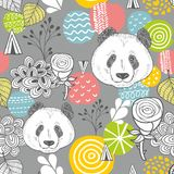 Χαριτωμένο άνευ ραφής σχέδιο panda στο γκρίζο υπόβαθρο Στοκ Εικόνες