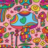 Χαριτωμένο άνευ ραφής σχέδιο αγάπης μανιταριών Στοκ Εικόνες