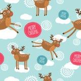 Χαριτωμένο άνευ ραφής σχέδιο ελαφιών Χριστουγέννων Στοκ φωτογραφία με δικαίωμα ελεύθερης χρήσης