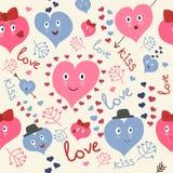 Χαριτωμένο άνευ ραφής σχέδιο καρδιών Στοκ φωτογραφία με δικαίωμα ελεύθερης χρήσης