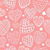 Χαριτωμένο άνευ ραφής σχέδιο καρδιών doodle Στοκ Φωτογραφίες