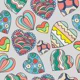 Χαριτωμένο άνευ ραφής σχέδιο καρδιών doodle Στοκ Εικόνες