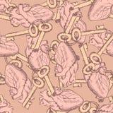 Χαριτωμένο άνευ ραφής σχέδιο κλειδιών και καρδιών Στοκ Εικόνα