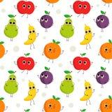 Χαριτωμένο άνευ ραφής σχέδιο με τα ευτυχή φρούτα Στοκ φωτογραφία με δικαίωμα ελεύθερης χρήσης